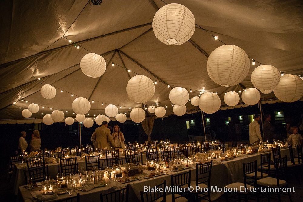 white paper lanterns light to light the tent and beautiful