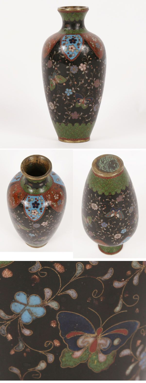 Cloisonne Vase Butterfly and Floral Motif on Black Ground with Goldstone 7inch | Antique Helper