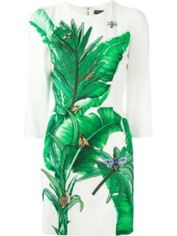 embellished leaf print dress