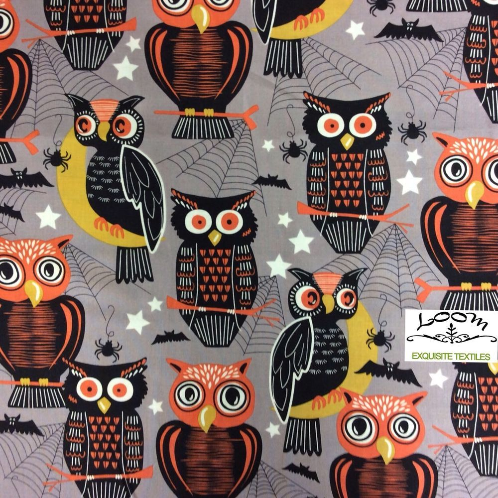 RPB35 Retro Halloween Decorations Cat Witch Owl Bat Cotton Quilting - Witch Decorations For Halloween