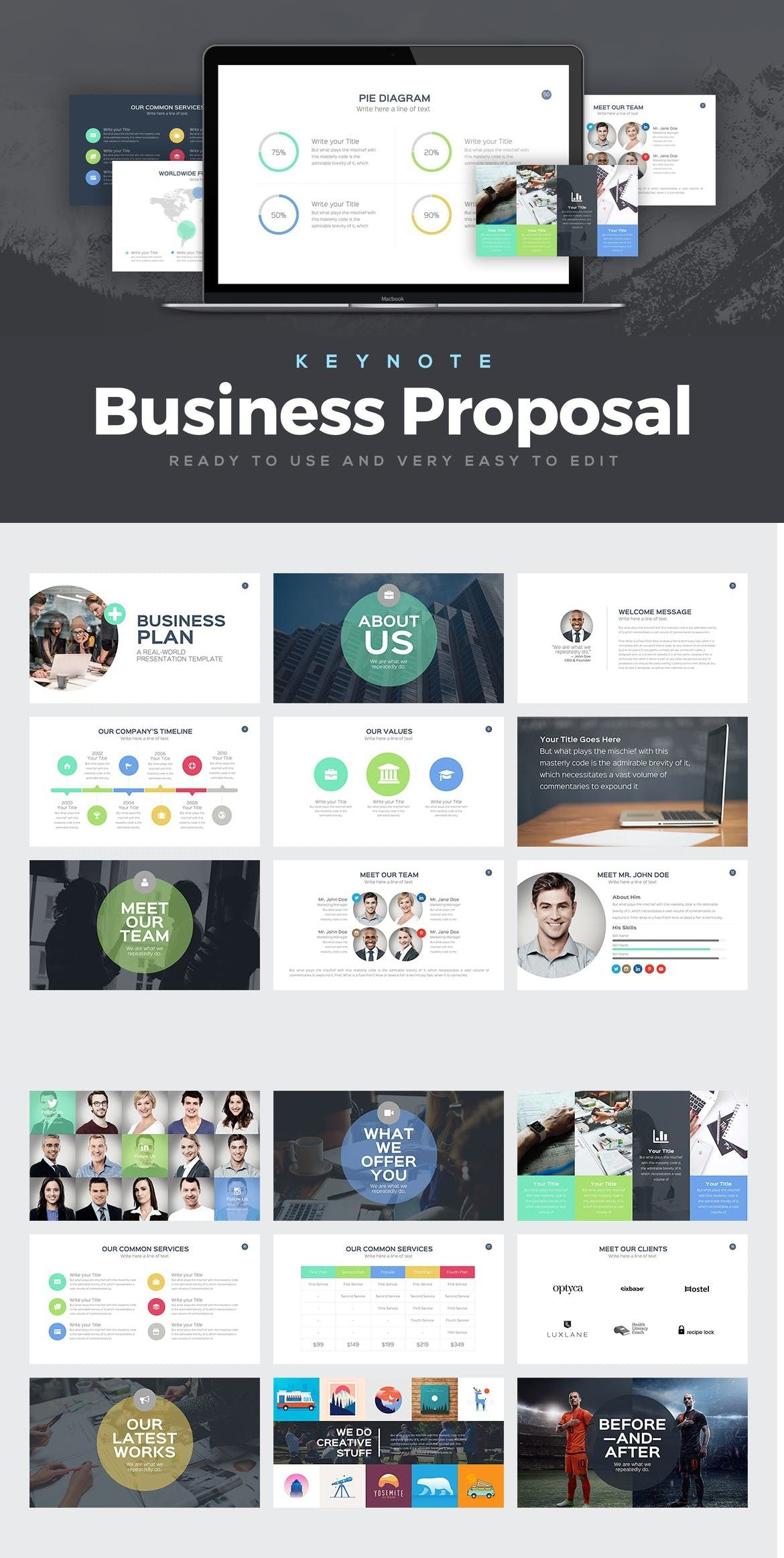 Business Proposal Keynote Template Keynote Business Pitch
