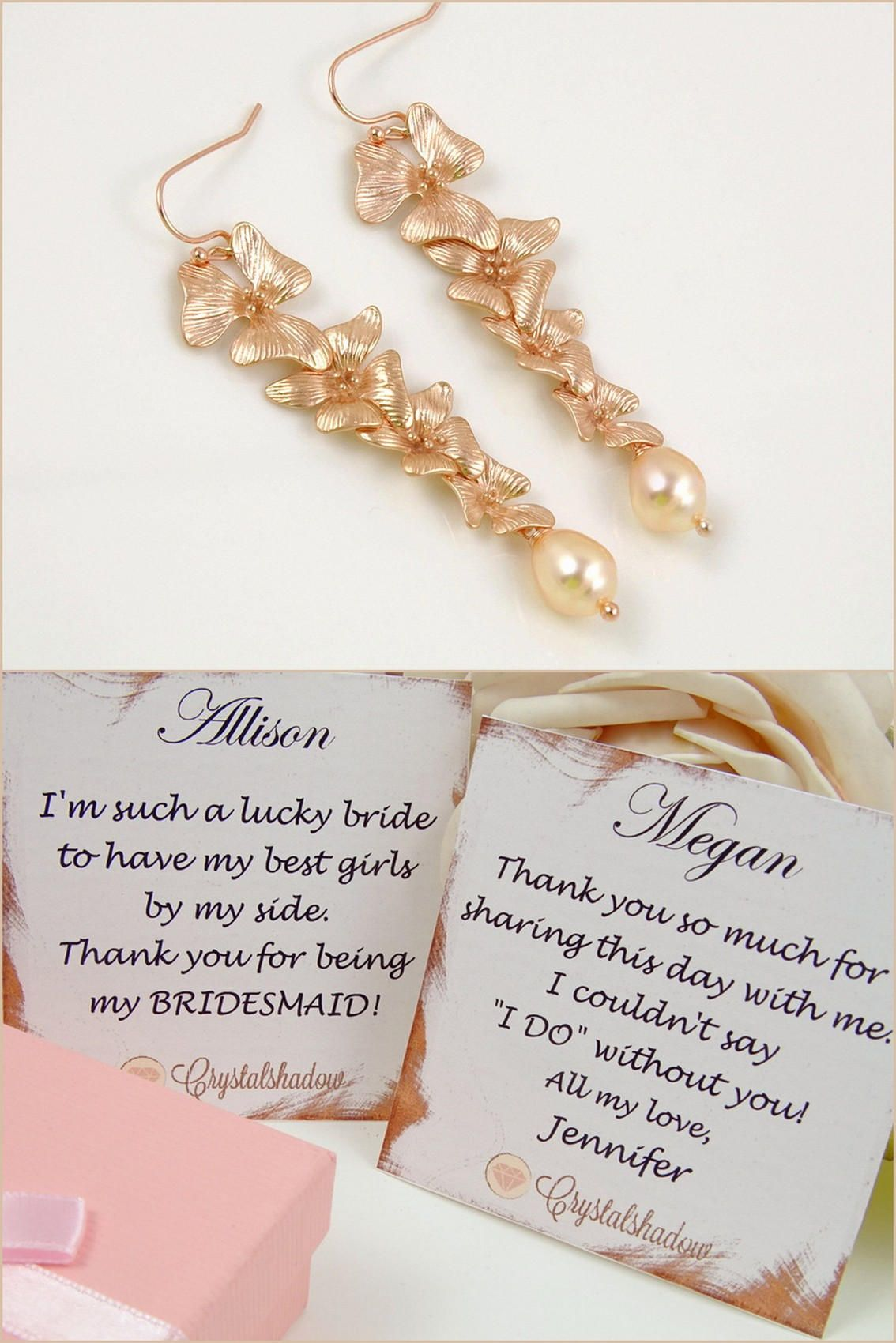 Long rose gold earrings for wedding day - drop pearl earrings wedding earrings for brides - long earrings for women - unique birthday gift
