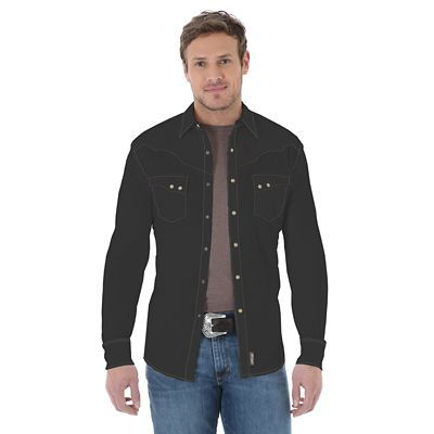 3cda4e98b5733 The best of black.This long-sleeve Retro Western shirt from Wrangler® lends  your wardrobe some mystery. Its features include vintage yokes with  decorative ...