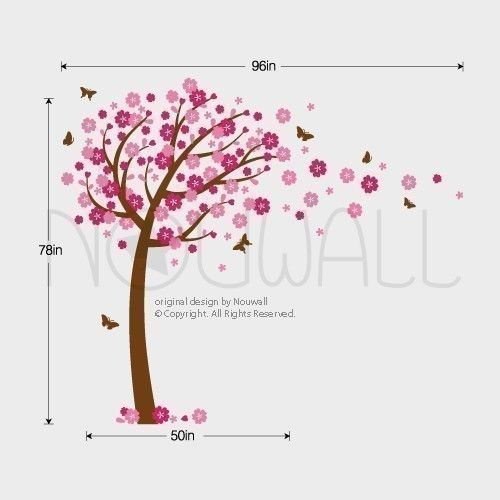 Wall Sticker Wall Decal  Windy Flowery Tree Decal with by NouWall, $85.00