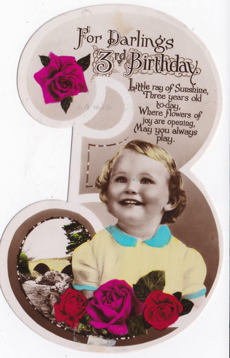 Vintage UK Birthday Greeting Card For A 3 Year Old Girl Hand Tinted In The Shape Of Three Rosy Happy Looking Child By PabloHoneyVintage On Etsy