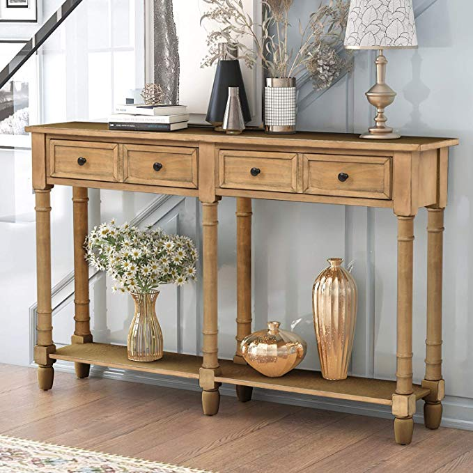 Amazonsmile Retro Console Table Sofa Table For Entryway With Drawers And Shelf Living Room Table Old Pi Rustic Console Tables Wood Console Table Wood Console