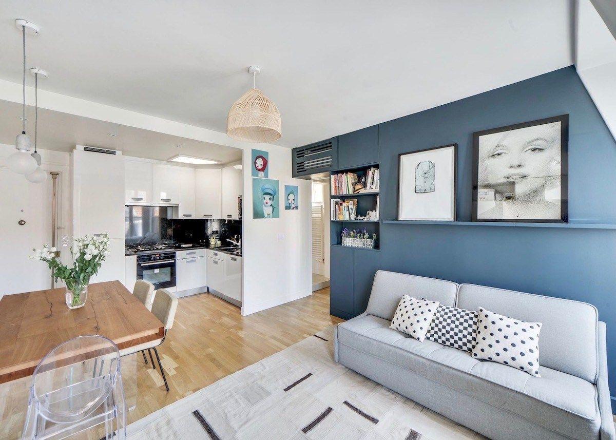Visite Deco Vivre En Famille Dans Un 37m2 Salon Bleu Fonce