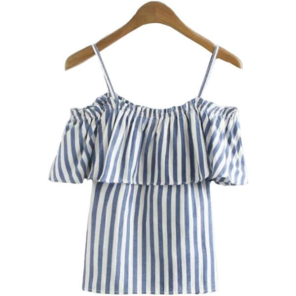 2eeb5599935c34  Renay  Striped Ruffle Cut Out Shoulder Cami Top (€41) ❤ liked on Polyvore  featuring tops
