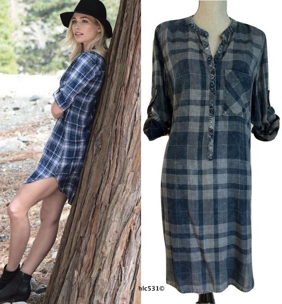 00e85419dd2 NEW Anthropologie Cloth   Stone Blue Plaid Chambray Shirt Dress Tunic S  Small  Anthropologie  ShiftShirtDressTunic  Casual