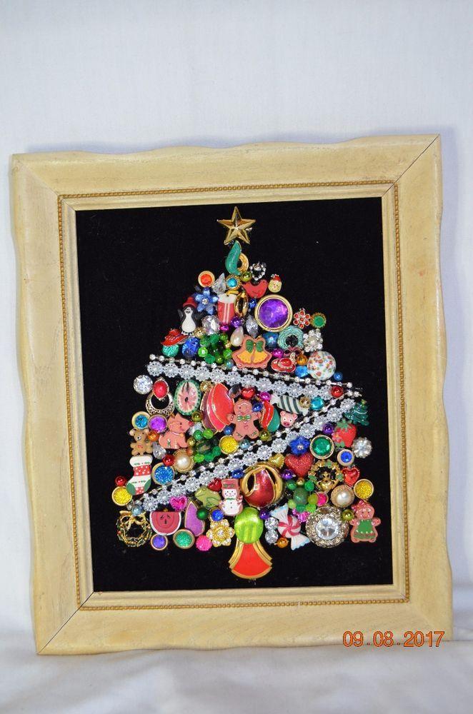 Vintage Jewelry Rhinestone Framed Christmas Tree 12x10 White Wood ...
