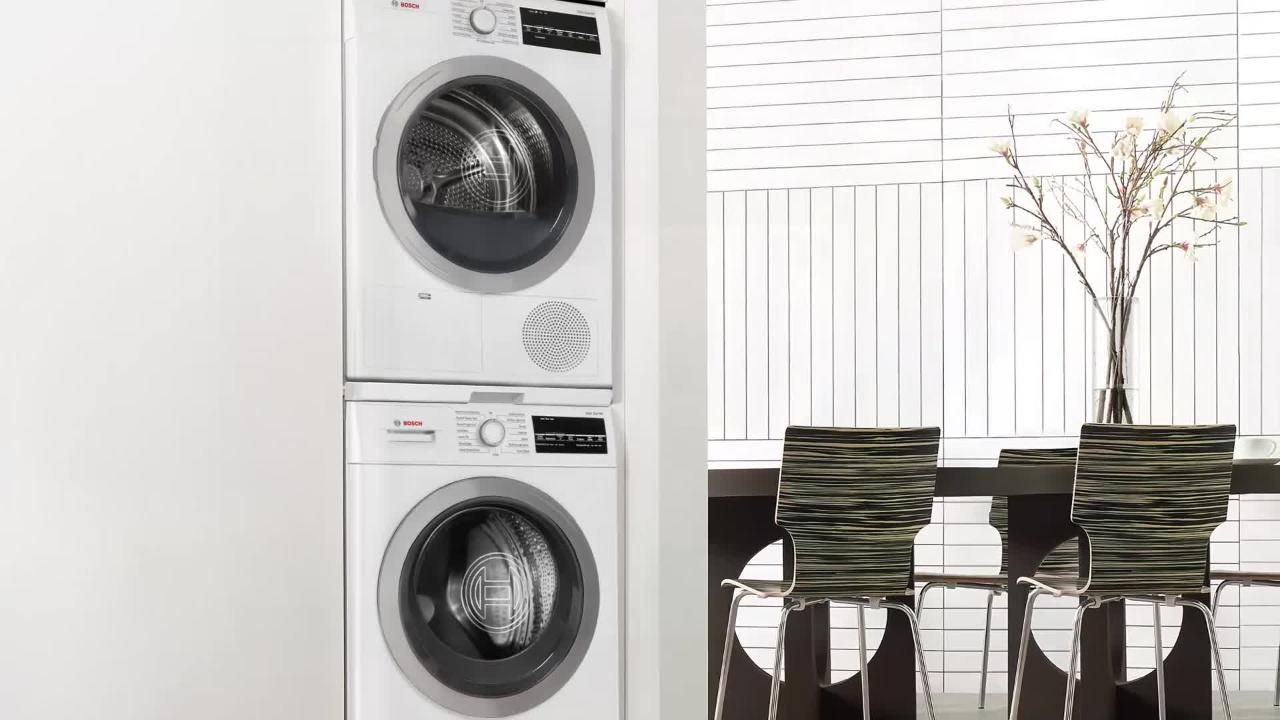 Bosch 24 in compact laundry stacking kit with shelf in