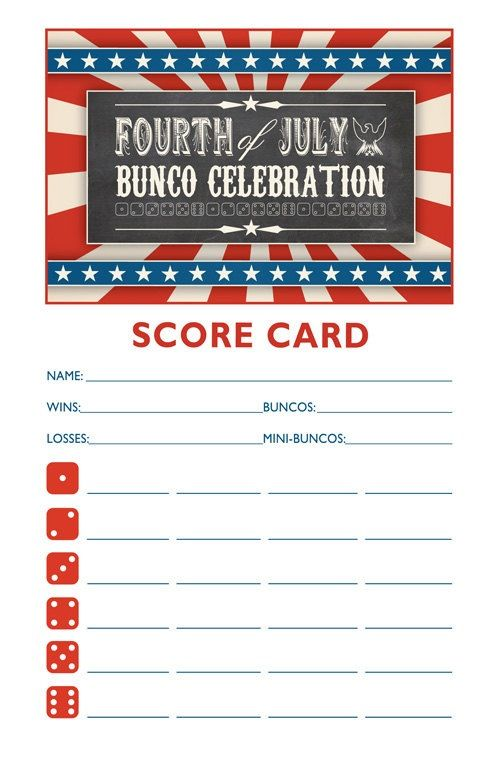 4th of July Bunco Bunco Pinterest Bunco ideas, Bunco party - bunco score sheets template