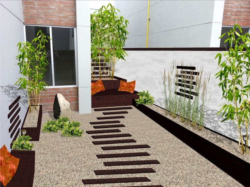 Dise o de jardin minimalista para patio con madera piedras for Ideas para decorar un patio exterior