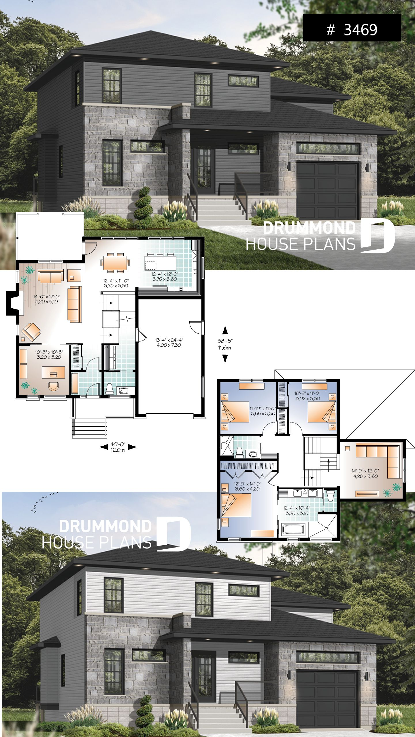 Discover The Plan 3469 Parkview Which Will Please You For Its 3 4 Bedrooms And For Its Contemporary Styles Double Storey House Plans Modern Style House Plans House Plans