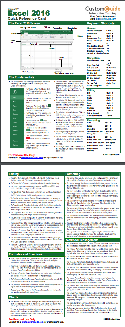 free microsoft excel cheat sheet with tips and tricks to