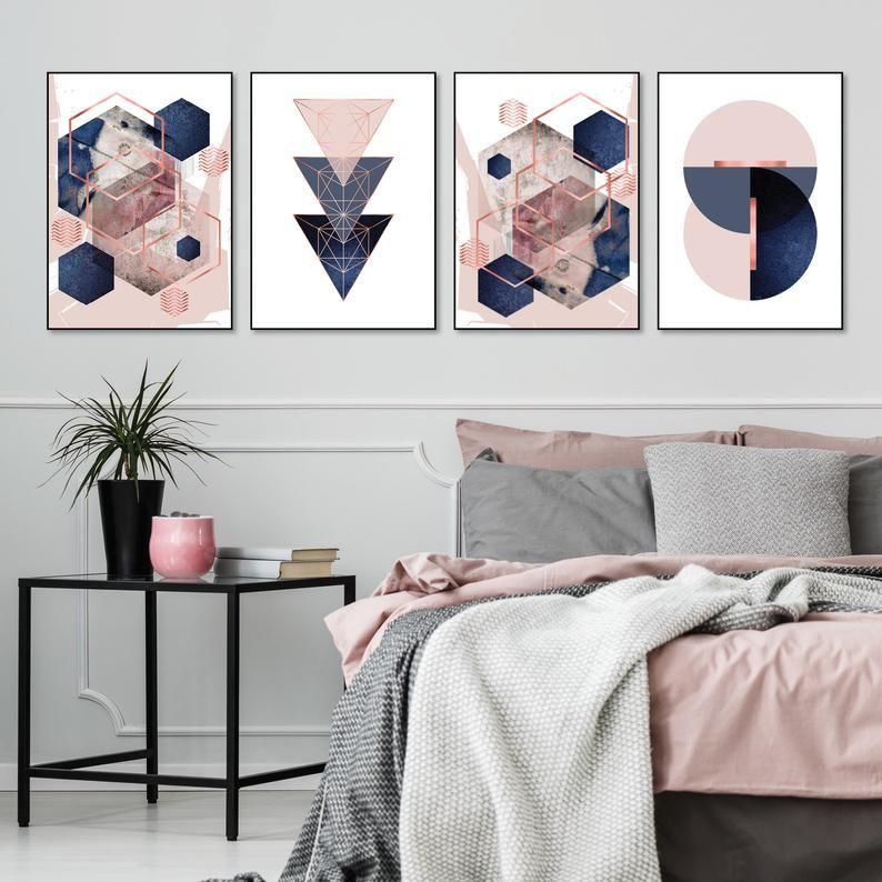 Set Of 4 Printable Blush Pink Navy Blue Rose Gold Geometric Art Prints Digital Download Dusky Pink Indigo Bedroom Wall Decor Trending Now In 2020 Wall Decor Bedroom Blue And Pink