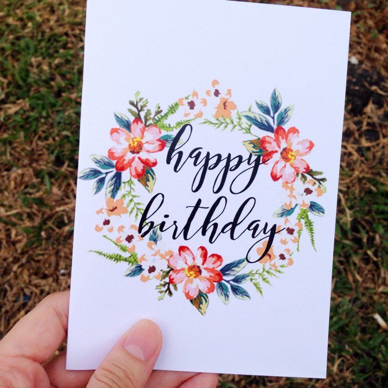 Happy Birthday Card Print Watercolor Birthday Cards Happy