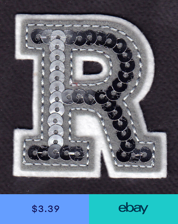 Letters Silver Sequin 2 Letter R Iron On Embroidered Applique Letter R Applique Lettering