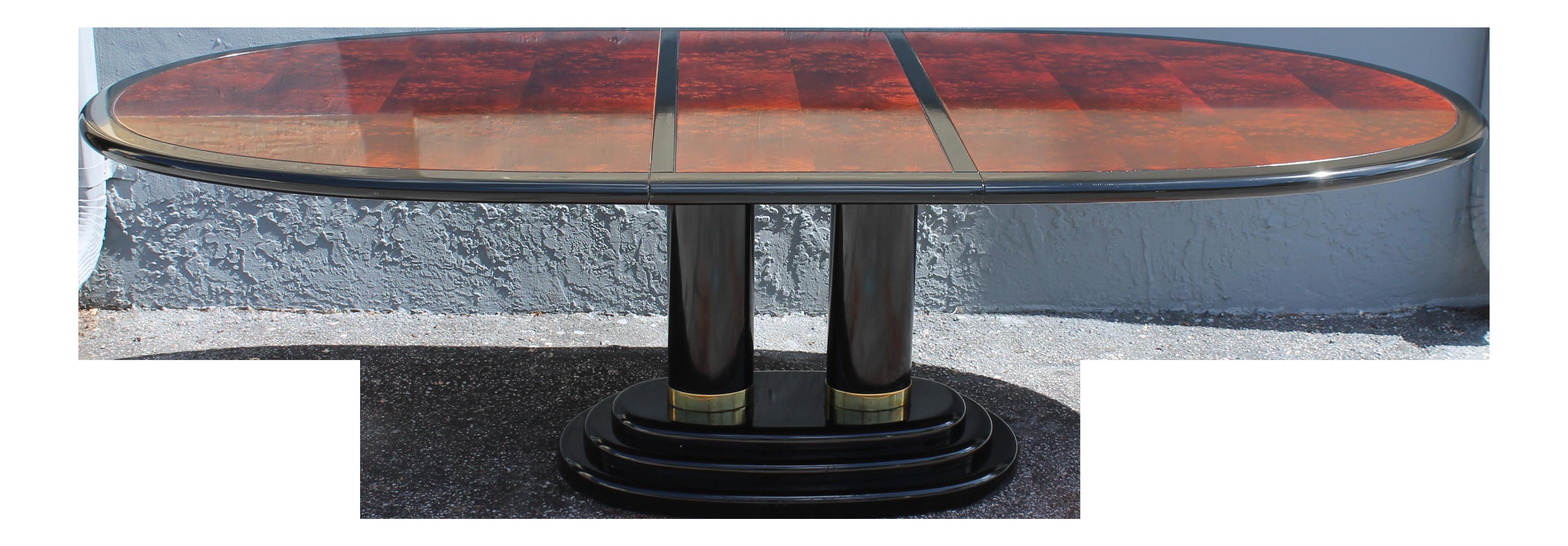 Henredon Art Deco Black Lacquered U0026 Burlwood Dining Table