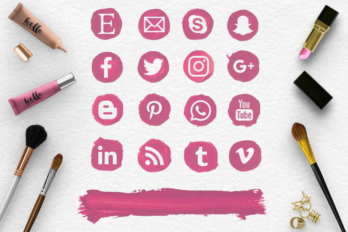 Makeup Round Social Icons