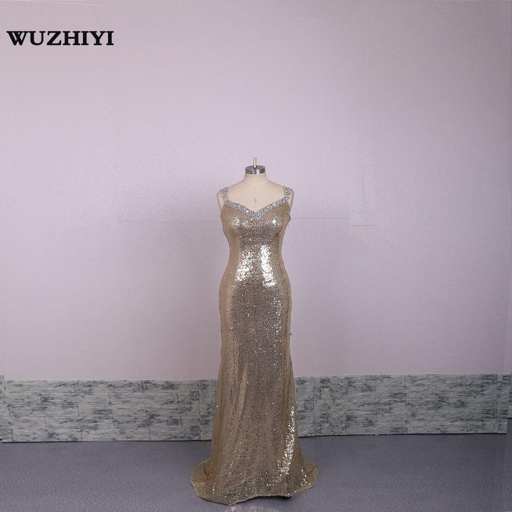 Click to buy ucuc wuzhiyi sequined mermaid prom dresses spaghetti