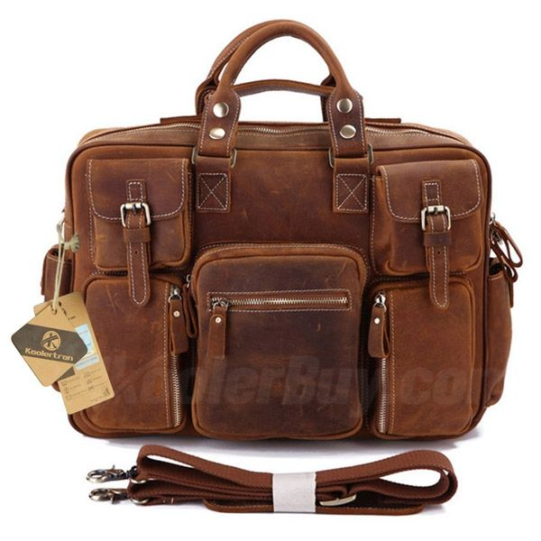 2f9c3af3b5dc Koolertron Perfect Made Rare Crazy Horse Leather Men's Briefcase Laptop Bag  for Commercial Business Fits 15.6