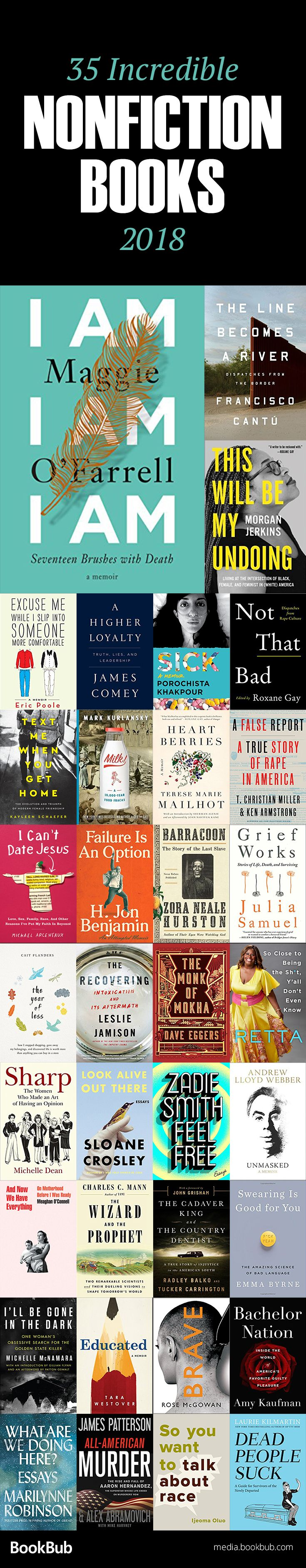 35 HighlyAnticipated Nonfiction Books Coming in 2018 is part of Nonfiction books, Books for teens, Books 2018, Book club books, Inspirational books, Nonfiction - These new books feature subjects spanning from coping with grief to the virtues of swearing to living with chronic illness