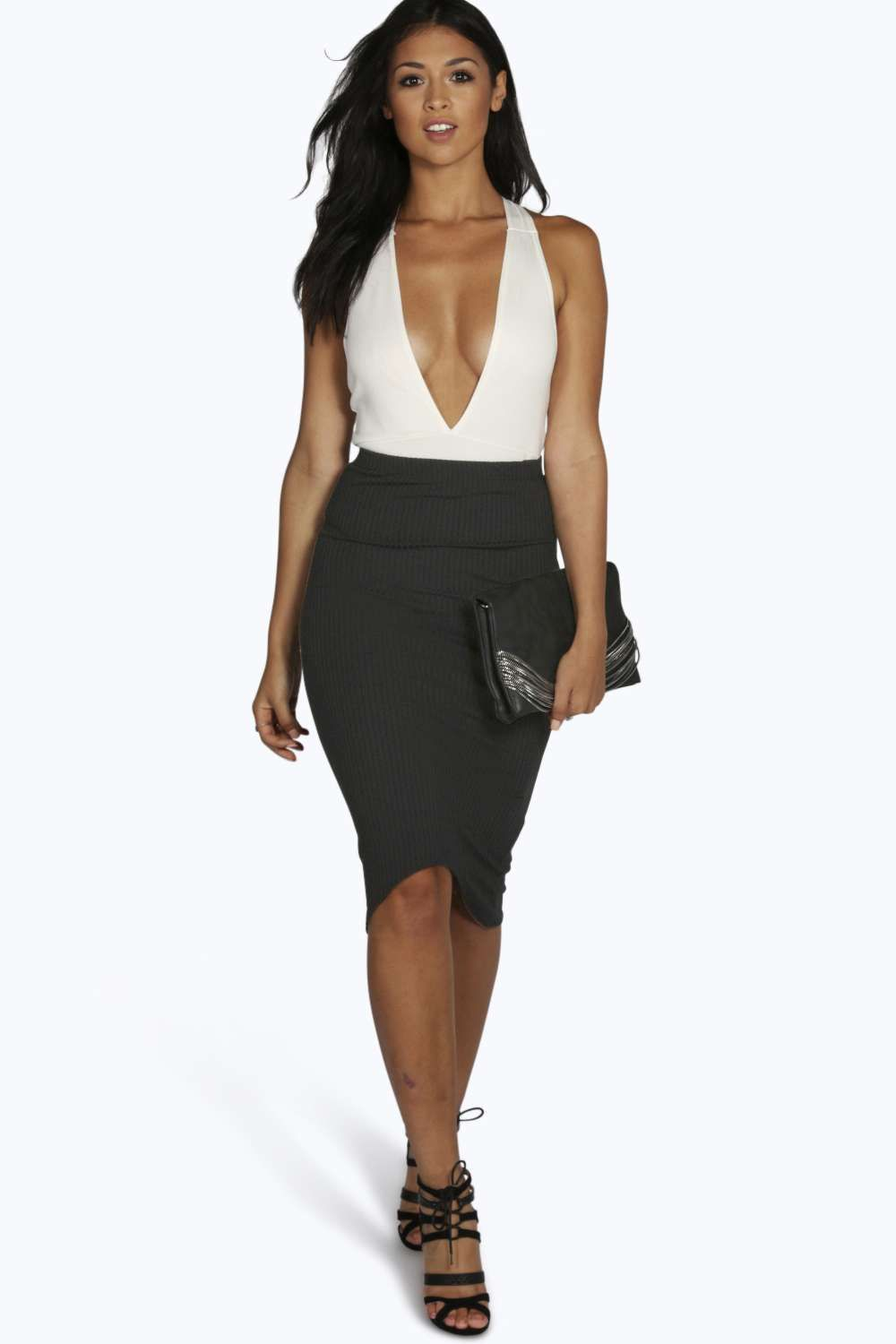 Dipped Hem Ribbed Midi Skirt black