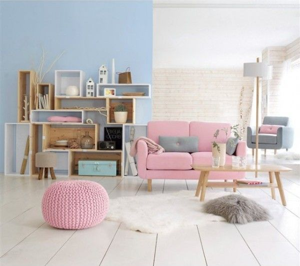 Décoration du salon scandinave rose pastel | scandinave | Home Decor ...
