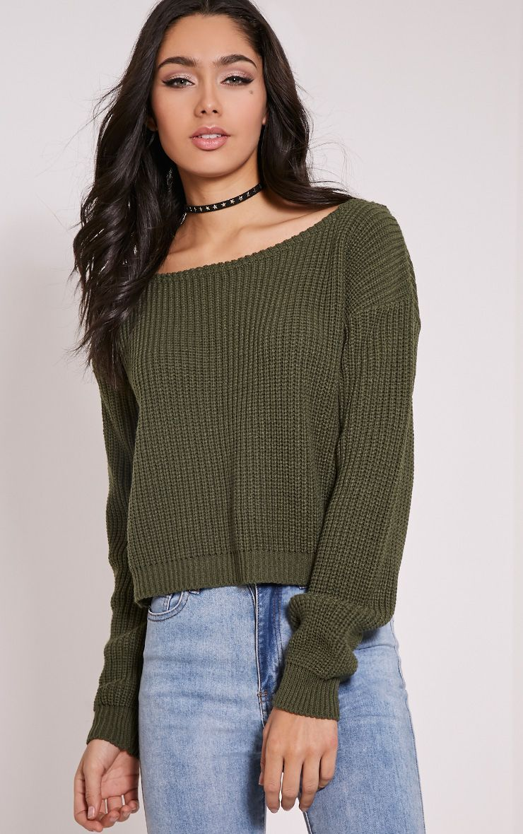 cadbbe263456 Rosalina Khaki Off The Shoulder Crop Jumper