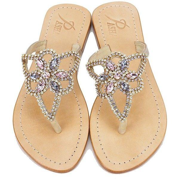 58ef68a8d Genuine Leather Jeweled Shoes Pasha