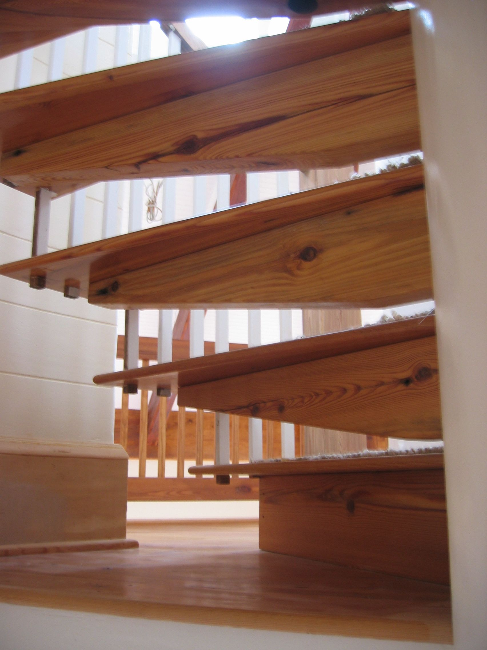 These Are Stair Treads Mortised Through A Round Column Which Protrudes From  The Base All The