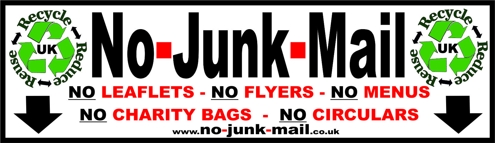 this is our no junk mail sign sticker that is reducing junk mail