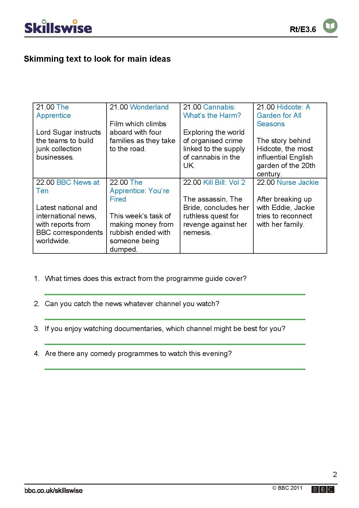Skimming Text To Look For Main Ideas Exercise In Skimming A Television Guide For The Main In Reading Worksheets Reading Response Worksheets Grammar Worksheets [ 1754 x 1240 Pixel ]
