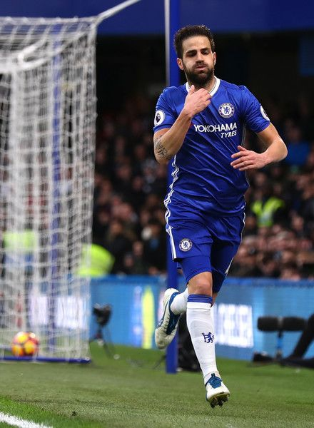 Cesc Fabregas of Chelsea scores his sides first goal during the Premier League match between Chelsea and Swansea City at Stamford Bridge on February 25, 2017 in London, England.