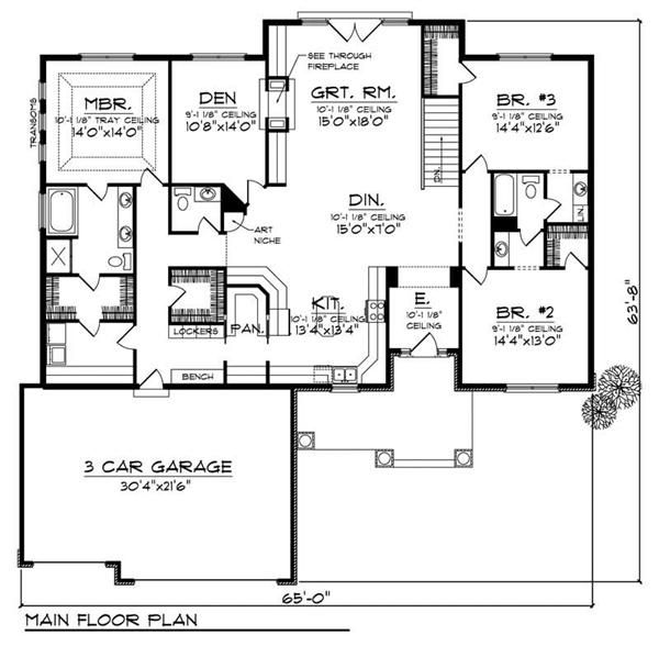 Ranch House Plan 3 Bedrms 2 Baths 2420 Sq Ft 101 1436 How To Plan Floor Plans Cottage House Plans