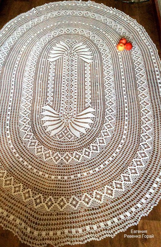 Текстиль, ковры ручной работы. Скатерть овальная крючком ...