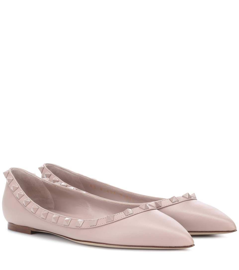 VALENTINO | Valentino Garavani Rockstud leather ballerinas #Shoes # Ballerinas #VALENTINO