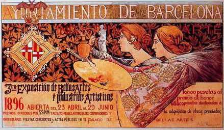 Cartel Del Ayuntamiento De Barcelona De 1896 Artistas Bellas Artes Producción Artística