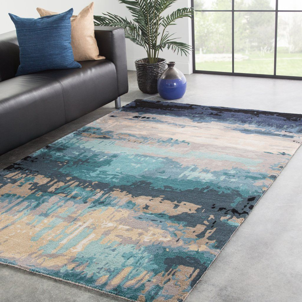 Benna Handmade Abstract Blue Gray Area Rug In 2020 Beige Area