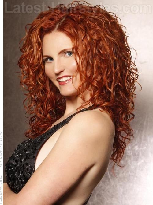 Long Red Curly Hair~ this style recommended for long, thick hair ...