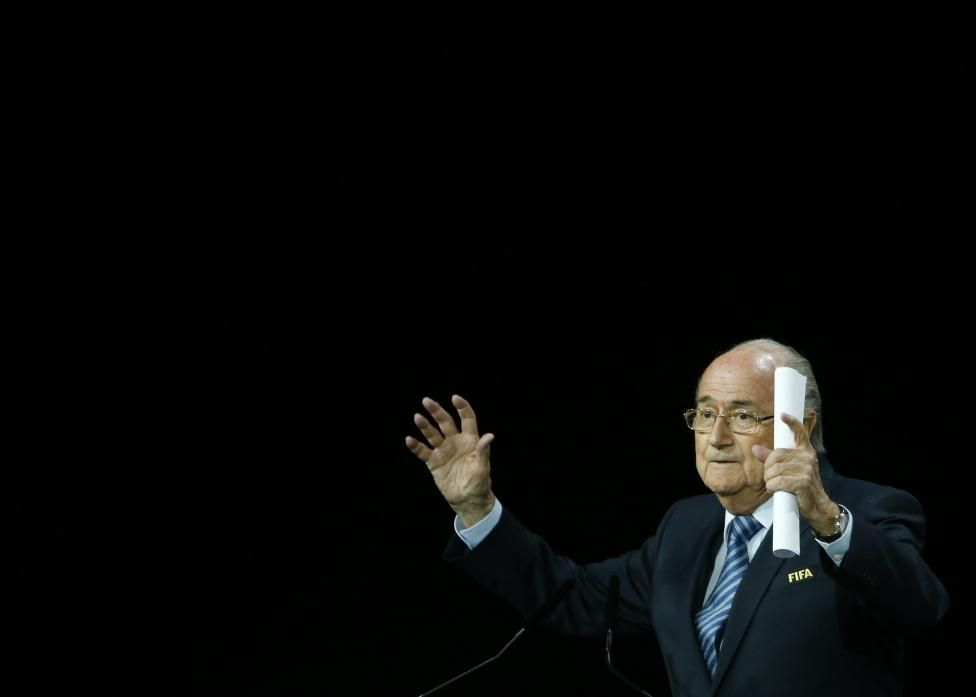 FIFA President Sepp Blatter waves after his speech before the election process at the 65th FIFA Congress in Zurich, Switzerland, May 29, 2015. REUTERS/Ruben Sprich
