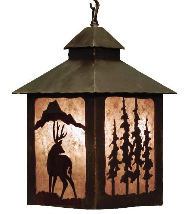 Deer Pine Tree Rustic Hanging Pendant Lantern Light Mica Backed Cabin Lodge Decor Lighting American