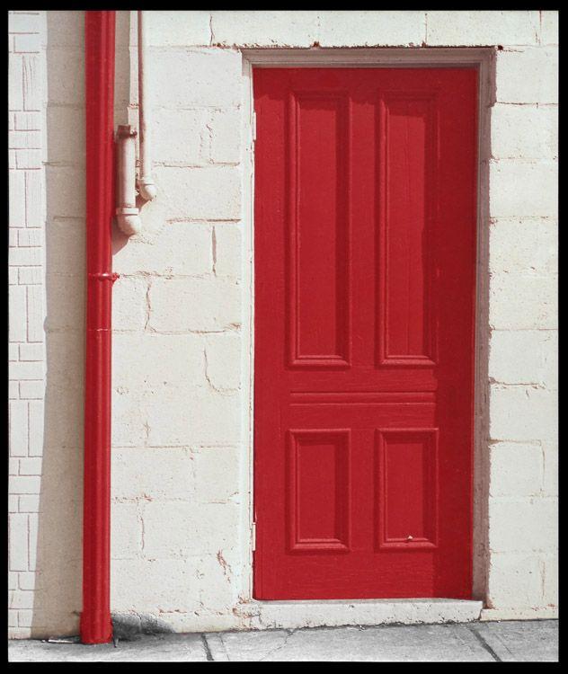 Red Door And Drainpipe, White Wall, Yorkville, Toronto