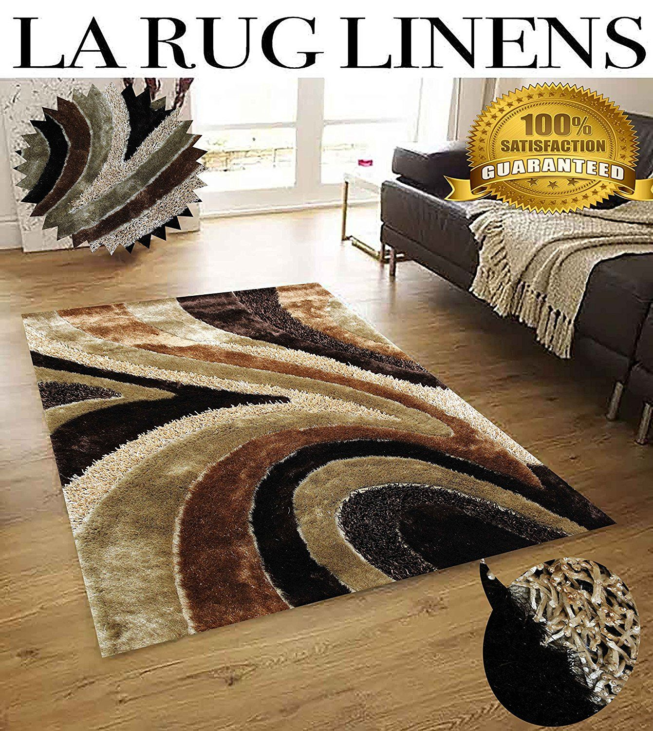 La Rug Linens Huge Blowout Sale Brand New Brown Beige 3d Curve