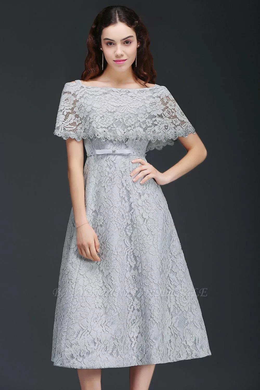 Alexis A Line Off Shoulder Tea Length Lace Homecoming Dresses With Sash Www Babyonlinewholesale Com Pakaian Wanita Pakaian Wanita Bunga Model Baju Wanita