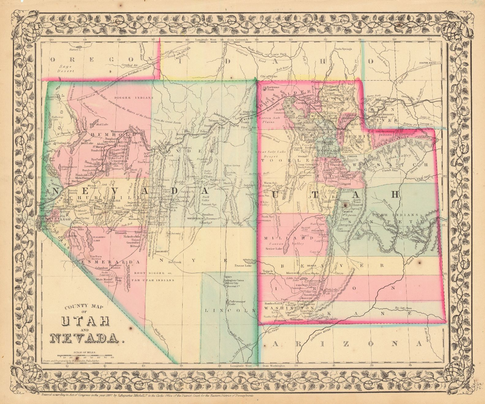 Map Antique County Map Of Utah And Nevada County Map Map Nevada