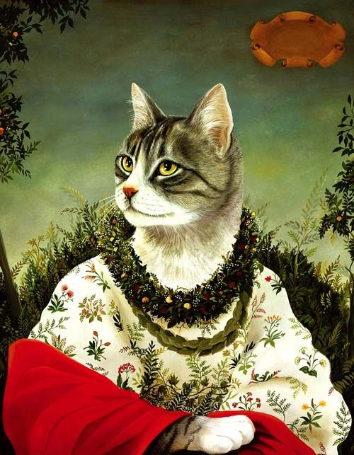 Anthropomorphic art - painting of a cat in a floral dress