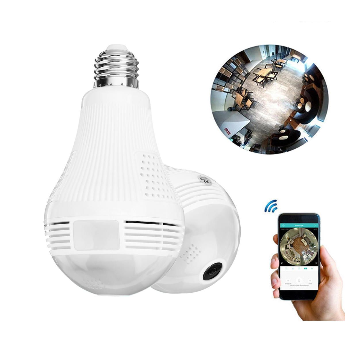 2 In 1 Panoramic 1080p 200w Wifi Camera Light Bulb Cameara Night Vision Two Way Audio Night Vision Wifi Light Bulb