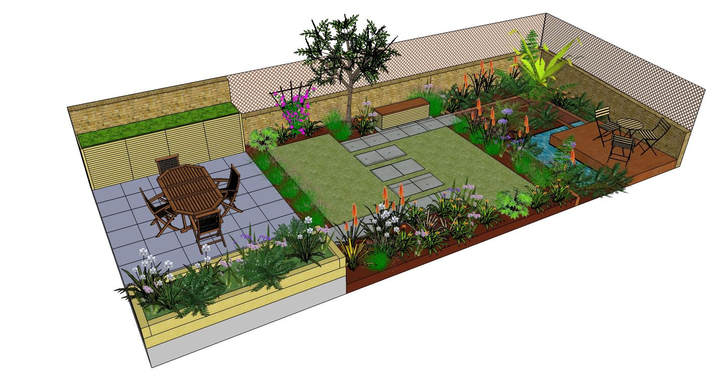 Richmond garden design drawn using SketchUp by FORK Garden Design